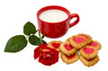 Heart-shaped cookies and rose Royalty Free Stock Image