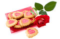 Heart shaped cookies and rose are on a white background Royalty Free Stock Photo