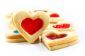 Heart shaped cookies shortbread with jam on a white background Stock Photo
