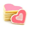 Heart shaped cookies stack of with pink frosting Stock Photography