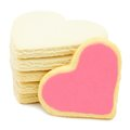 Heart shaped cookies stack of with pink frosting Stock Photos