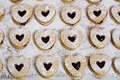 Heart shaped cookies with strawberry jam Royalty Free Stock Photo