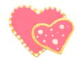 Heart shaped cookies two overlapping homemade with pink icing Royalty Free Stock Photo