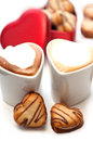 Heart shaped cream cookies Royalty Free Stock Images