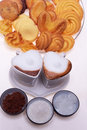 Heart shaped espresso coffee cappuccino cups Royalty Free Stock Photo