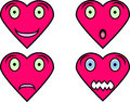 Heart shaped faces with different expressions four showing emotions happiness surprise sadness and scare Stock Photo
