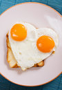 Heart shaped fried egg Stock Image
