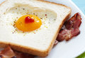 Heart shaped fried egg Royalty Free Stock Images