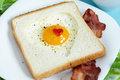 Heart shaped fried egg Royalty Free Stock Photography