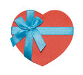 Heart shaped gift box red tied with blue ribbon and bow Stock Photography