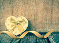 Heart shaped gift box valentines day on wood Royalty Free Stock Photos