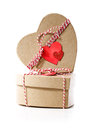 Heart shaped gift boxes with heart tags isolated on white background Royalty Free Stock Image