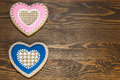 Heart shaped gingerbread cookies two copy space composition macro Stock Images