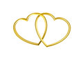 Heart shaped golden rings Royalty Free Stock Image