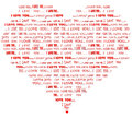 Heart shaped i love you red word cloud of message in various fonts in a form of Stock Photography