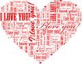 Heart shaped I Love You word cloud
