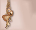 Heart shaped lock key and ring golden Stock Image