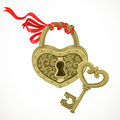 Heart shaped lock and key to it isolated on white background Stock Photo