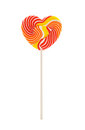 Heart shaped lollipop isolated on white background Royalty Free Stock Photo