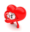 Heart shaped mascot unlocking itself Stock Image