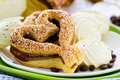 Heart-shaped pastry with sesame seeds Royalty Free Stock Image