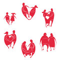 Heart shaped people pairs Royalty Free Stock Photography