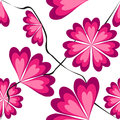 Heart shaped petals in pink tints seamless pattern with Stock Image