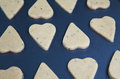 Heart shaped raw dough cookies with caraway on metal baking tray selective focus in center Royalty Free Stock Photography