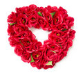 Heart Shaped Red Rose Arrangement on White Stock Images