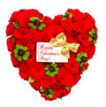 Heart shaped red roses with golden ribbon Royalty Free Stock Photo