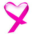 Heart shaped ribbon pink on a white background Stock Images