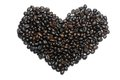 Heart shaped roasted coffee beans Royalty Free Stock Image