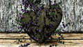 Heart shaped rock over a background with rocks made of and plywood Royalty Free Stock Images