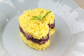 Heart shaped saffron rice with trevisano chicory served on a grey plate idea for a valentine s day dish selective focus Royalty Free Stock Photo