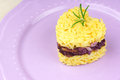 Heart shaped saffron rice with trevisano chicory served on a pink plate idea for a valentine s day dish copy space selective Stock Photography