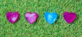 Heart shaped soap on green grass Stock Photo