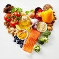 Heart-shaped still life of healthy food Royalty Free Stock Photo