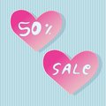 Heart shaped store sale stickers Royalty Free Stock Photography