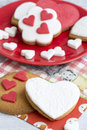 Heart shaped sugar cookies for valentines day Stock Photo