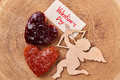 Heart-shaped toast with jam. Royalty Free Stock Photo