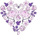 Heart-shaped Valentine with pink Flamingos and exotic flowers. The entire greeting card in pink and violet tones. Original Valenti