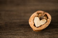 Heart shaped walnut waiting to be discovered together Royalty Free Stock Photo