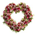 Heart-shaped wreath of roses, tulips and alstroemeria on white background
