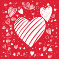 Heart shapes hand drawn white hearts with red background Royalty Free Stock Images