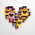 Heart shapes shape made from tiny icons eps Stock Photo