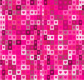 Heart shapes and squares seamless geometrical pattern. Pink abstract background.