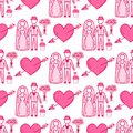 Heart sharp vector wedding couple seamless pattern background pink color card beautiful celebrate bright emoticon symbol Royalty Free Stock Photo
