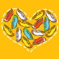 Heart from shoes vector illustration Stock Photos