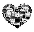 Heart of shopping icons vector illustration Royalty Free Stock Photo