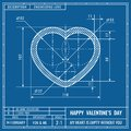 Heart sign as technical blueprint drawing. Valentines day technical concept. Mechanical engineering drawings. Valentines